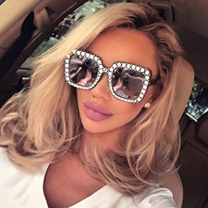 ee1e5e79e17c Aranher(TM) 2018 NEW Oversized Square Frame Bling Rhinestone Sunglasses  Women Fashion Shades(