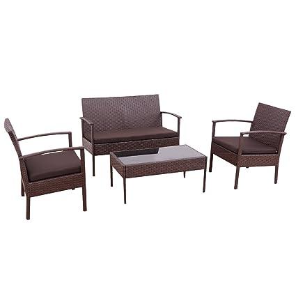 TANGKULA 4 Piece Outdoor Furniture Set Patio Garden Pool Lawn Rattan Wicker  Loveseat Sofa Cushioned Seat