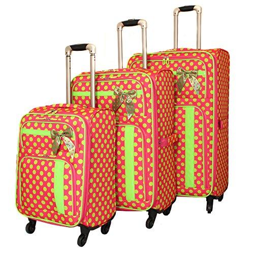 American Green Travel Polka Dot Luggage Set, Pink/Green by American Green Travel