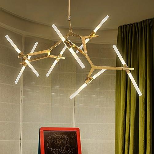 Industrial Chandelier Modern Metal Acrylic Branch Pendant Lamp Light Ceiling Fixtures for Living Room Dining Room Lighting 14-Light Gold