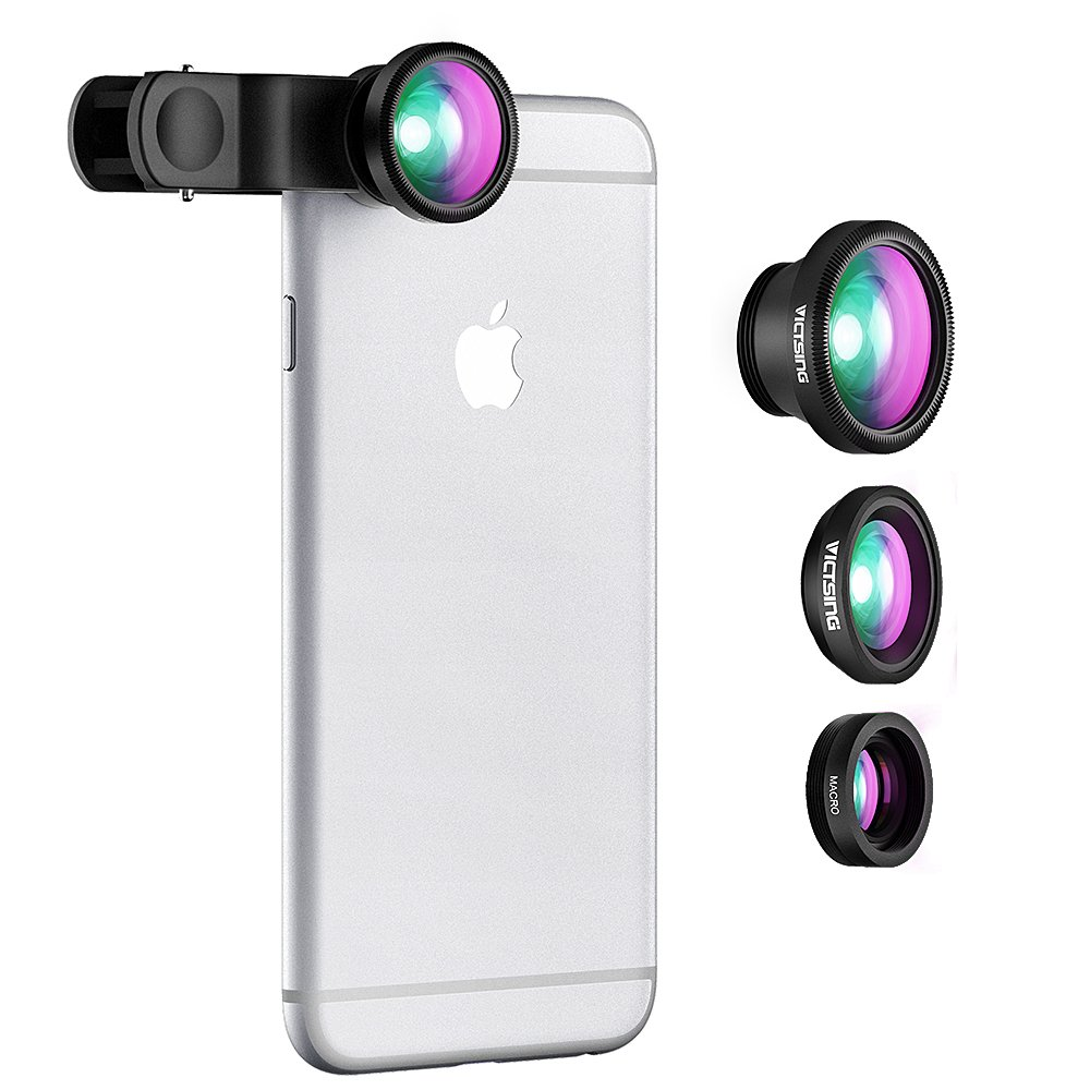VicTsing 3 in 1 Clip-on Lens Kit for Mobile Carmera ,180 Degree Fisheye Lens,10X Macro Lens, 0.4x Wide Angle Lens High Definition for Iphone5/5s/6/6s,Oneplus,Redmi/MI,Vivo,Oppo,Moto,Samsung,Lenovo,Lumia and More