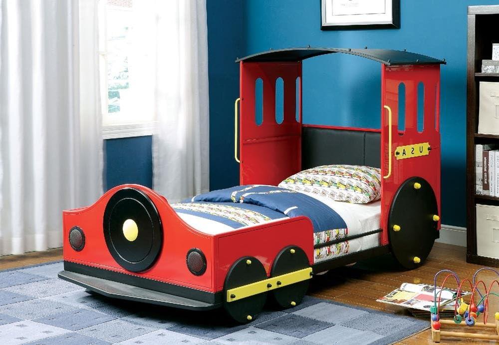 Amazon Com Fa Furnishing Oceana Boys Metal Train Twin Bed Red