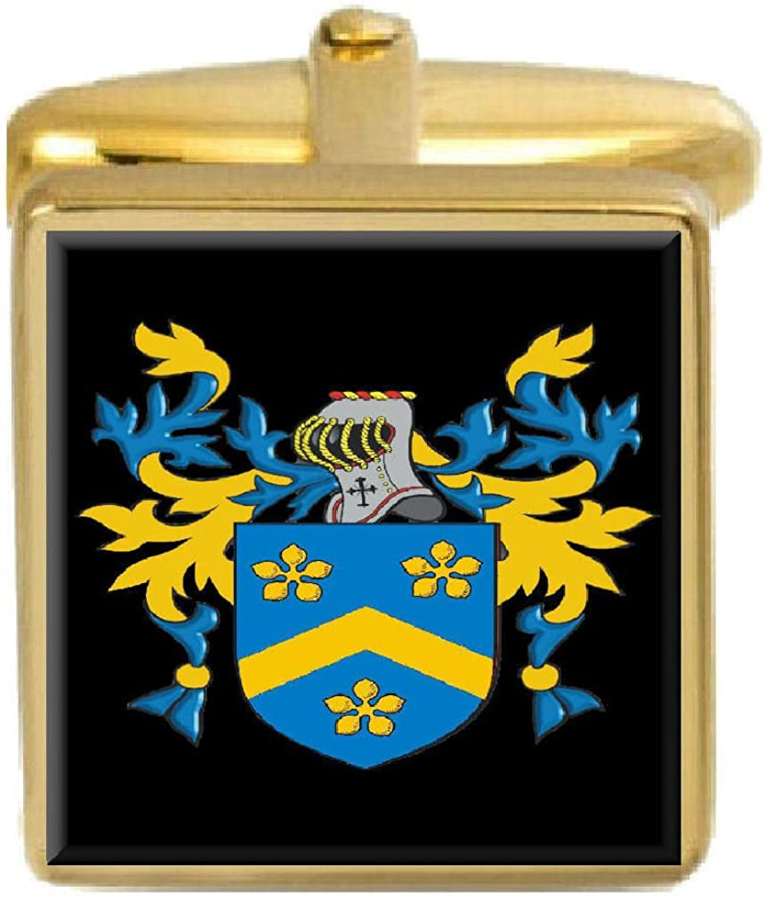 Select Gifts Purvis Scotland Family Crest Surname Coat Of Arms Gold Cufflinks Engraved Box