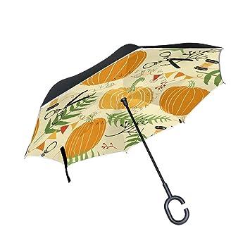 MAILIM Pumpkins - Paraguas invertido (Doble Capa, Mango en Forma de C, Resistente