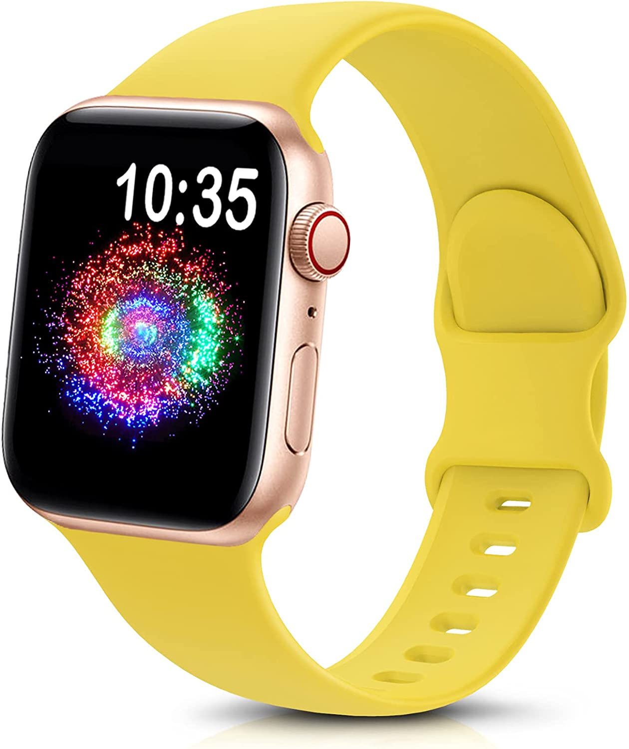 TreasureMax Sport Band Compatible with Apple Watch Bands 38mm 40mm 42mm 44mm, Soft Silicone Replacement Strap Compatible for Apple Watch Series 6 5 4 3 2 1 SE Men Women Yellow 38MM/40MM