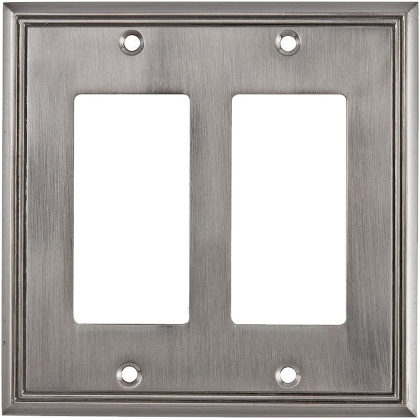 Rok Hardware Wall Plate Contemporary Decorative Rocker/GFCI Switch Plate (Brushed Nickel, 2 Gang)