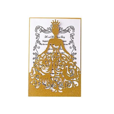 308d69eab0 KAZIPA 25PCS Laser Cut Wedding Invitations + White Inside Paper +  Envelopes