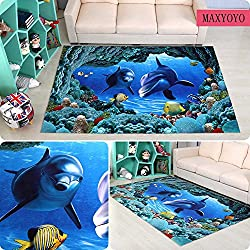 MAXYOYO Mediterranean Two Dolphin Carpet Living Room Bedroom Bedside Area Rug 31.5 63 Inch Soft Non-slip Bedroom Carpet Large Carpet Rug