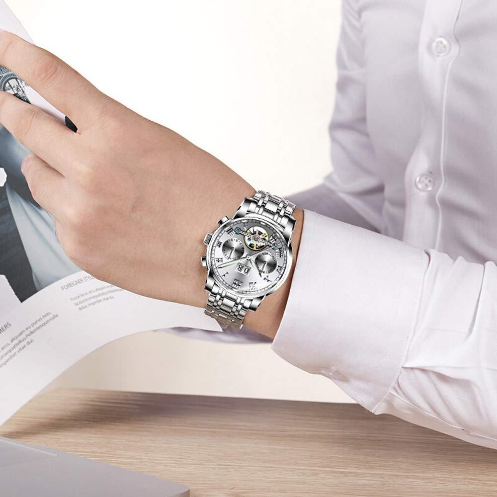 Klockklockor herr mekanisk kalender vattentät klocka rostfritt stål bälte JFYCUICAN 01silver