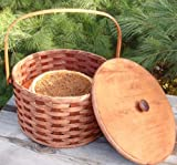 """Round Double Pie Carrier Basket with Tray and Lid, 12"""" X 7"""". An Ingenious Design Used to Carry up to Two Pies At Once to Take to the Church Socials, Bake Sale, Pot-lucks, and Family Get-togethers. It's Not Too Late to Be Prepared! And As an Added Bonus, You Also Get an Authentic Amish Pie Recipe with the Purchase of the Single or Double Pie Carrier Basket! Collectible Handmade Primitive Decor. This Double Pie Carrier Basket Was Featured and Reviewed in the Los Angeles Times News Paper. Amish Handmade Primitive Country Amish Country Handmade - Very Popular! Top Seller! Amish Made in the Usa! Possibility of Fresh Stain Odor, Will Need to Be Aired Out Upon Product Arrival"""