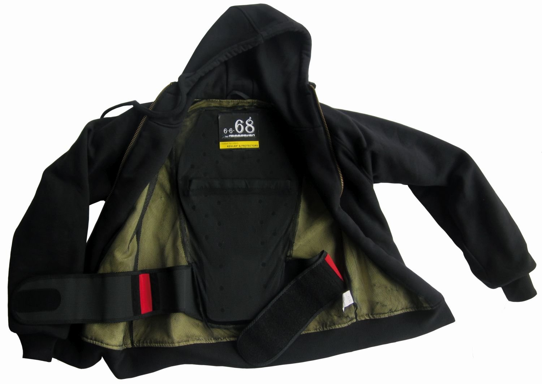 Motorradjacke FREESEVEN Kevlar Hoodie 6-6-68 schwarz/Unisex: Amazon ...