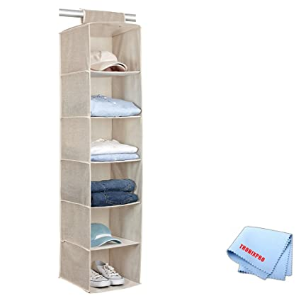 Beige 6 Shelf Hanging Closet Organizer + Tronixpro Microfiber Cleaning Cloth
