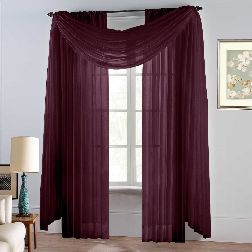 NICETOWN Sheer Sarf Curtains Burgundy - Elegant Solid Sheer Voile Valance Window Curtain Scarf Burgundy / Wine