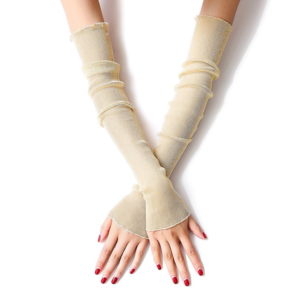 Women's Sun UV Protection Sleeves Solid Colored Fingerless Gloves (Beige)