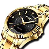 CIVO Mens Watches Luxury Business Waterproof Wrist Watch for Men Elegant Casual Dress Simple Design Analogue Quartz Watches with Golden