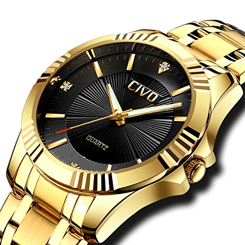 CIVO Mens Watches Luxury Business Waterproof Wrist Watch for Men Elegant Casual Dress Simple Design Analogue Quartz Watches with Golden - Link Designer Water Resistant Watch
