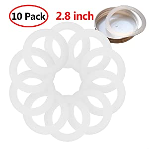 Freebily 10pcs Reusable Food-Grade Silicone Airtight Sealing Rings Gaskets for Leak Proof Mason/Ball/Kerr Jar Lids Plastic Storage Cap White 2.8 inch