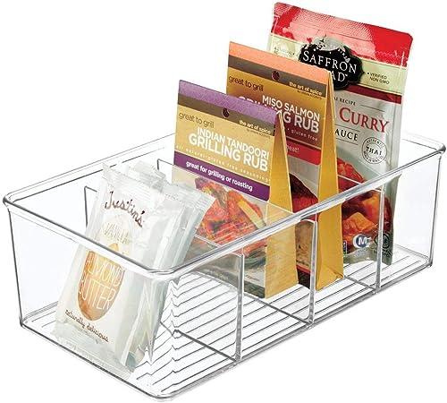 mDesign Portaoggetti da cucina Moderno contenitore per accessori da cucina e alimenti Pratico organizer a 4 scomparti per confezioni e barattoli trasparente