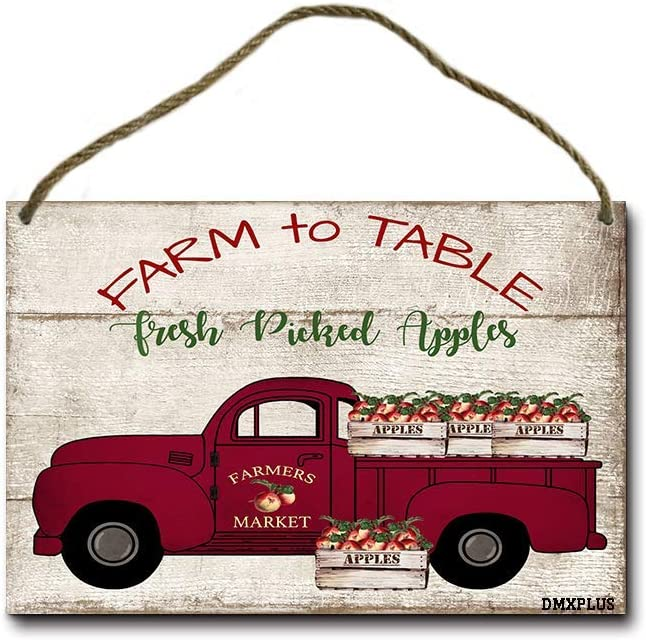 POUDBDH Farm to Table Fresh Picked Apples Metal Hanging Sign Decor - Country Cottage Wall Decor - Farmhouse Wall Decor 12 X 8 Inches