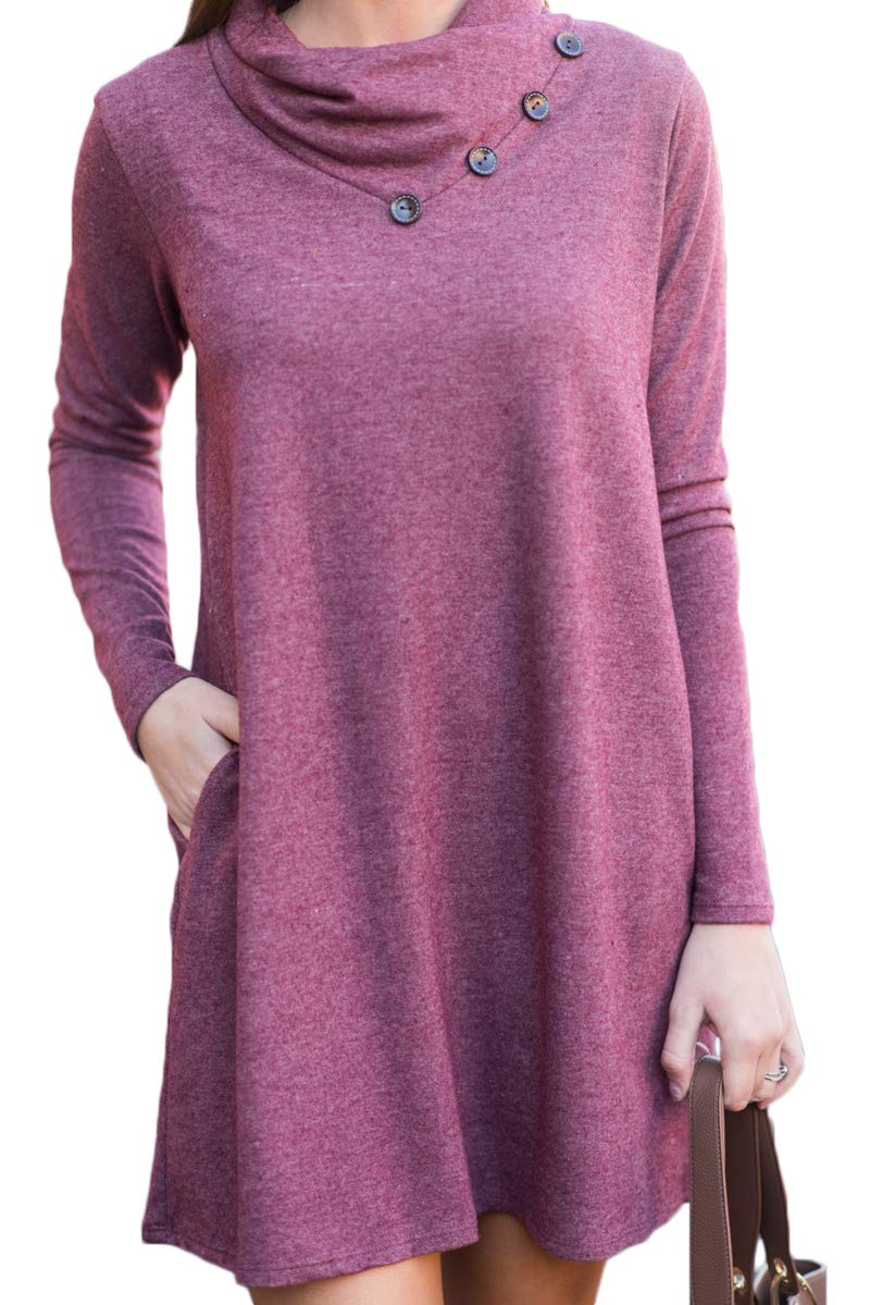 Slim Fit and Flared Short Swing Dress for Women with Sleeves Pockets Purple S