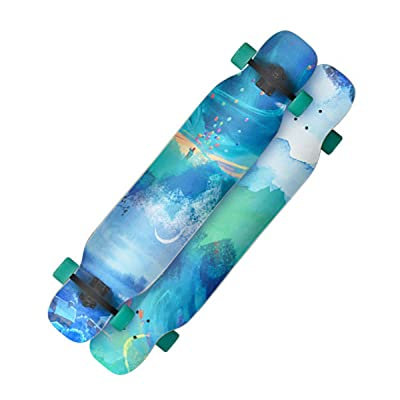 "QINGMM Skateboard - 44"" X 9"" Complete Skateboard - Double Kick 7 Layer Canadian Maple Wood Adult Tricks Skate Board: Home & Kitchen"