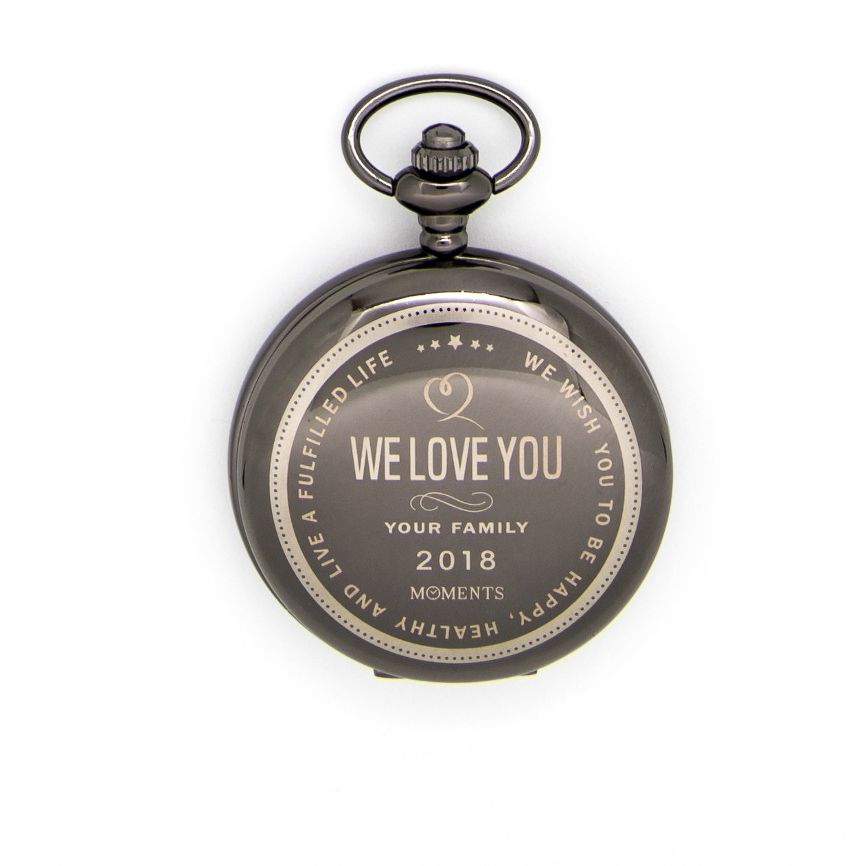 Moments Pocket Watch with Chain, Engraved with We Love You for Husband, Son or Brother, Keepsake Gift for Birthday, Anniversary, Valentines Day, Christmas by by Moments