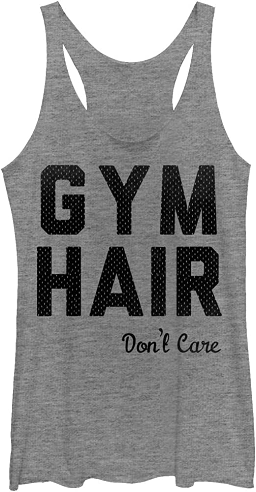 Chin Up Women's Athletic Gym Hair Don't Care Racerback Tank Top