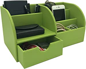 UnionBasic Office Desk Organizer - Multifunctional PU Leather Desktop Storage Box - Business Card/Pen/Pencil/Mobile Phone/Stationery Holder (Green)