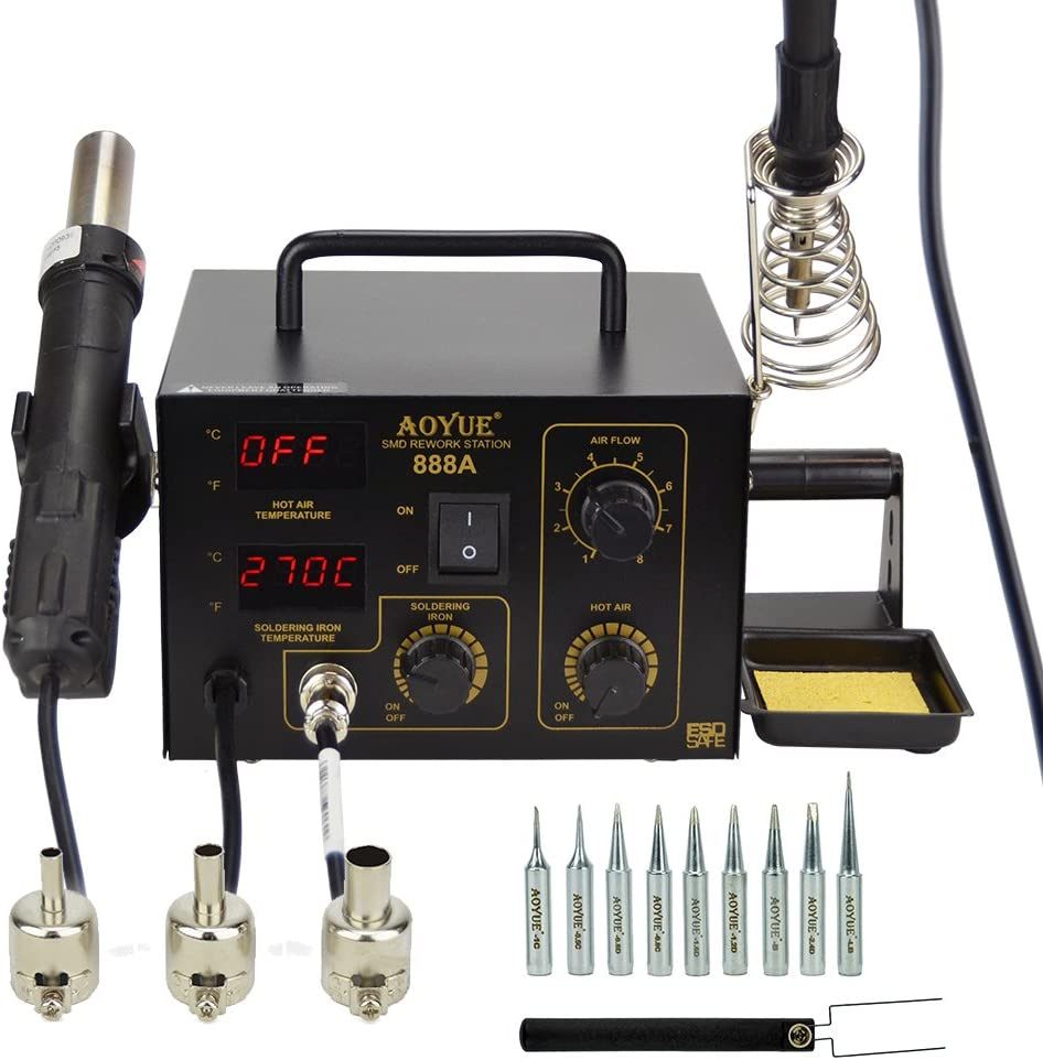 Aoyue 888A 2 in 1 Digital Hot Air Rework and Soldering Station, black