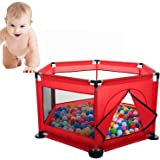 Ocean Ball Pit Pool Children Play Tent Baby Portable Washable Folding Safety Fence Tent for Outdoor Indoor (Red)