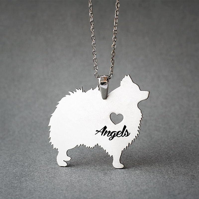 Pomeranian Personalized Pendant Handmade Sterling Silver Dog Jewelry PM19-NP