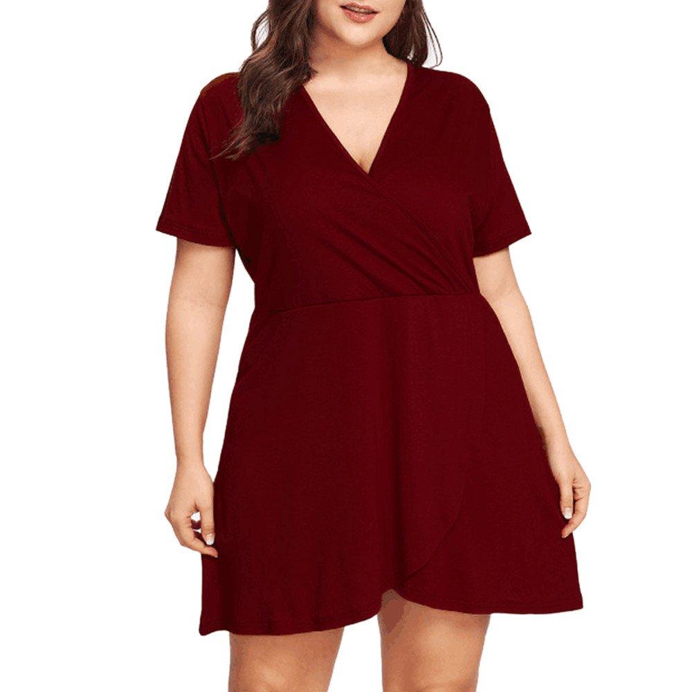 Carolui Damen Sexy Sommerkleider Plus Große V-Ausschnitt Kurzarm Einfarbige A-Line Glockenhülse Strandkleid MiniKleid