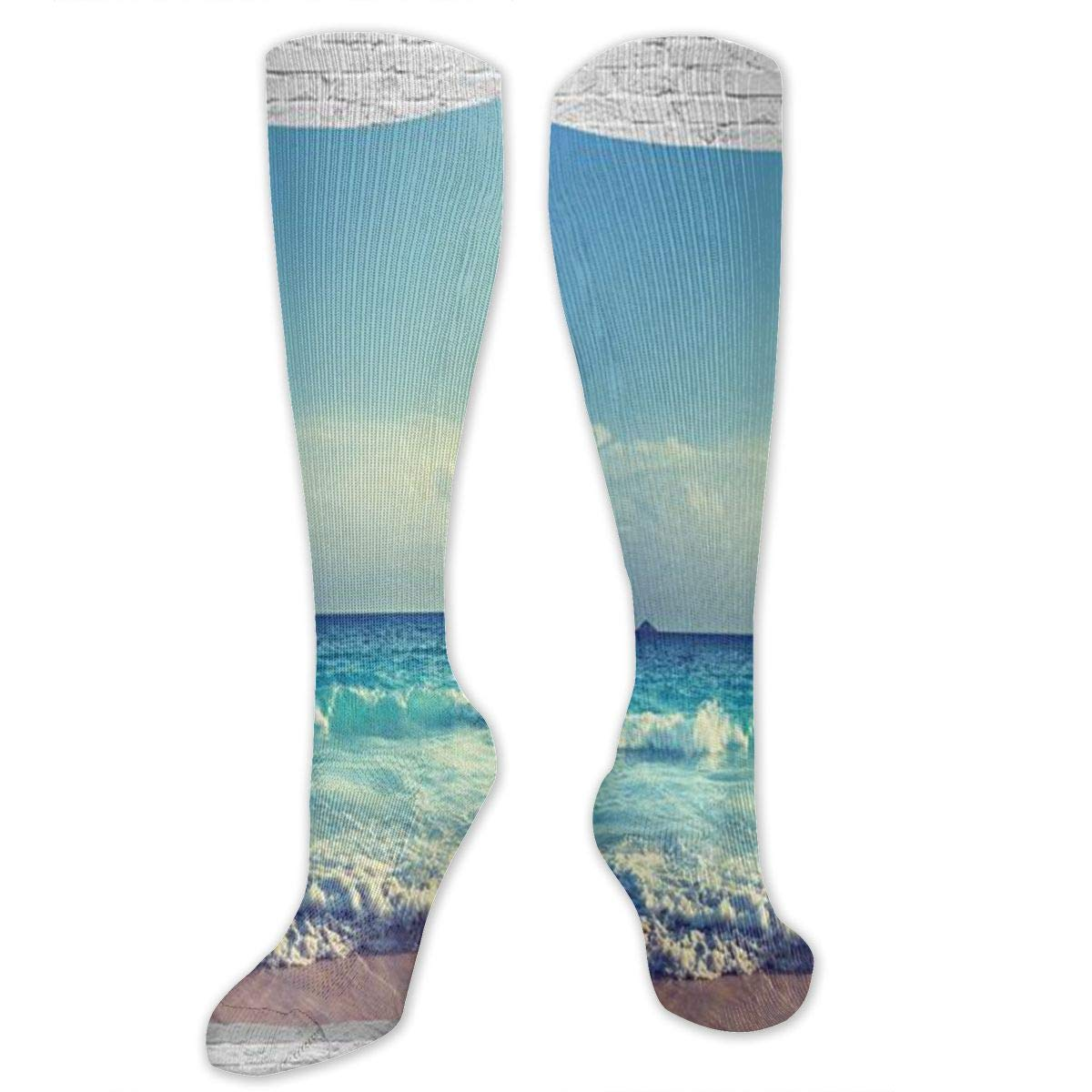 Chanwazibibiliu Ocean Waves Seychelles Island Beach in Sunset Mens Colorful Dress Socks Funky Men Multicolored Pattern Fashionable Fun Crew Cotton Socks