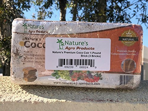 Nature's Premium Coco Coir 1-Pound Brick (3 Bricks) by Nature's Agro Products
