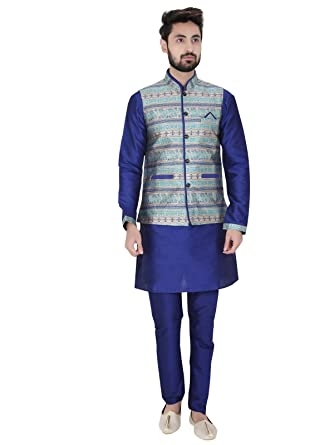 SEEMA ENTERPRISE Light Blue Checks Cotton Blazer For Mens