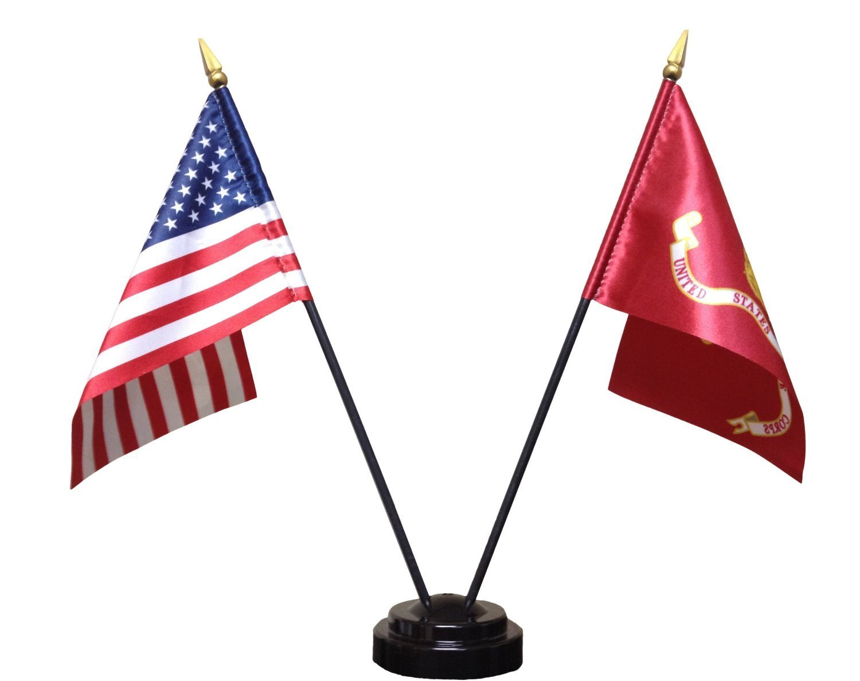 RFCO Miniature U.S. Marine Corps and American Flag Desk Set (Black Base)