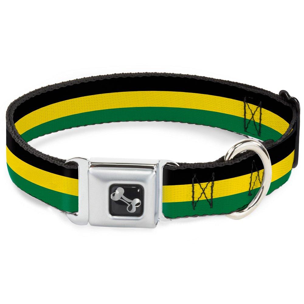 Buckle-Down 11-17  Stripes Black Yellow Green Dog Collar Bone, Medium