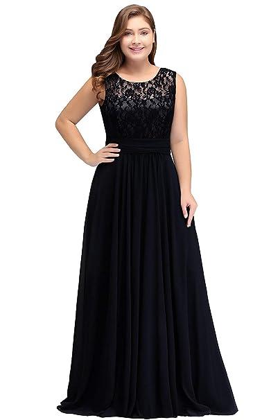 Women\'s Lace Plus Size Evening Dresses Long Chiffon Prom Bridesmaid Gown