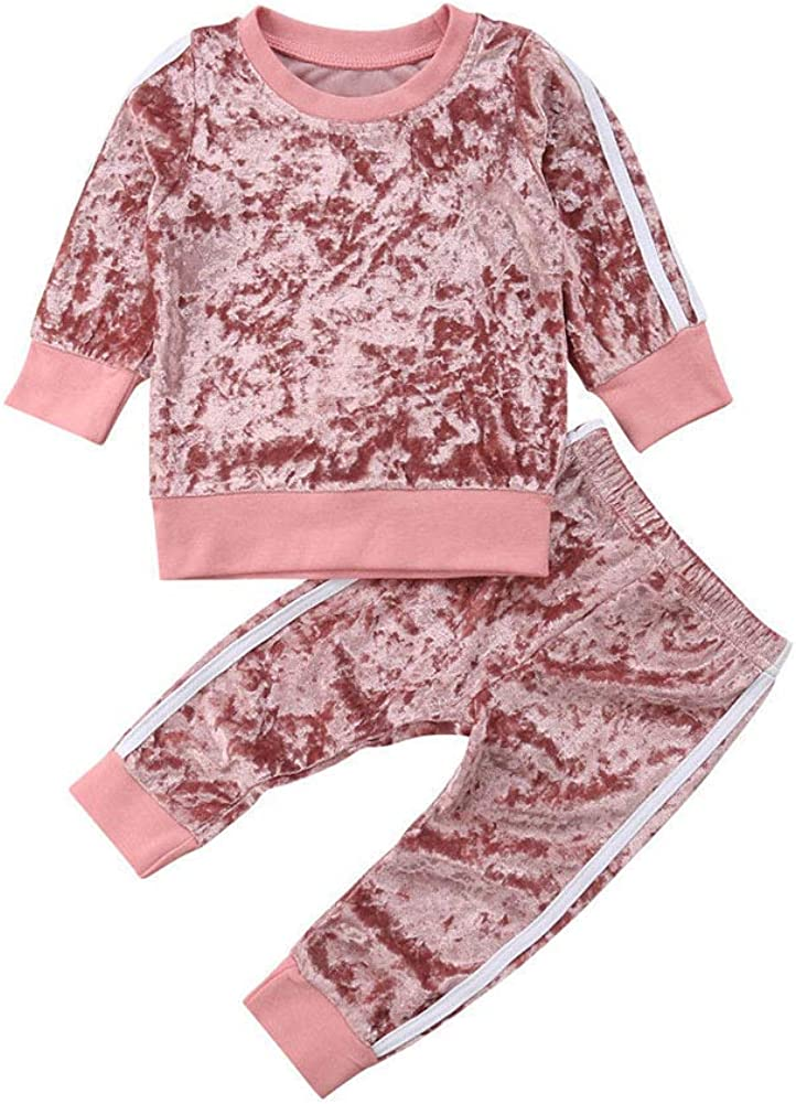 Toddler Baby Girl Pants Sets Solid Color Long Sleeve Blouse Top Pants Fall Outfits 2PCS Winter Newborn Clothes