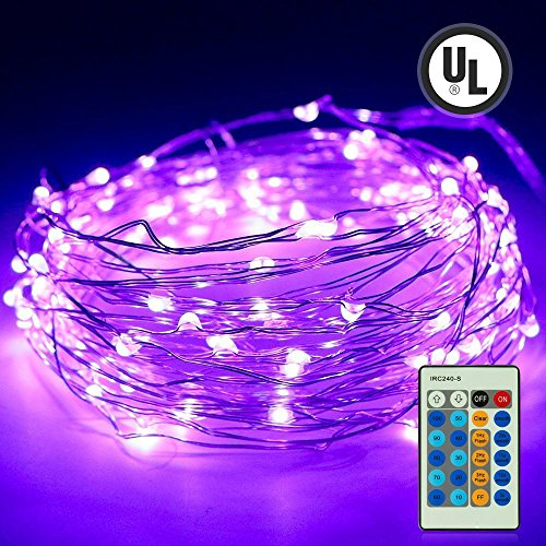 iiEASEST Purple Led Fairy Twinkle String Lights,Easest 100 LED 33 Feet Copper Wire Micro Mini Starry Lights with Remote for Tree Wall Bedroom Home Party Wedding Christmas Halloween Holiday Decoration