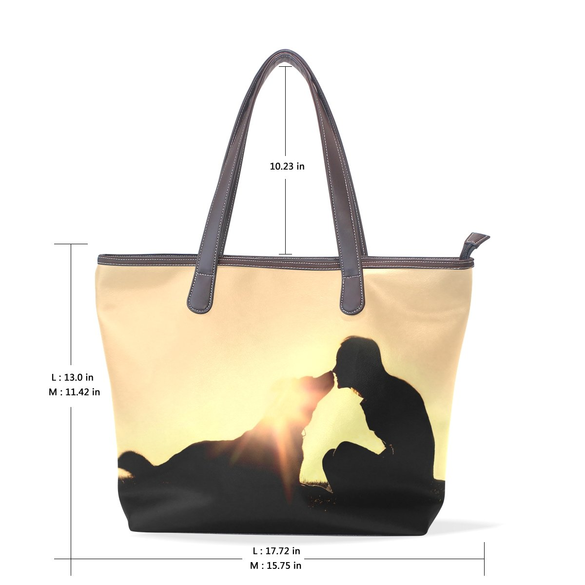 SCDS People And Dogs PU Leather Lady Handbag Tote Bag Zipper Shoulder Bag