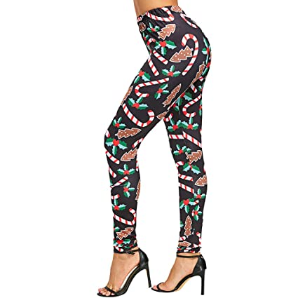 3f6baee5e95 Voberry  Women s Chic Ugly Christmas Leggings Funny Xmas Candy Cane Fashion  Leggings Graphic Printed Stretchy