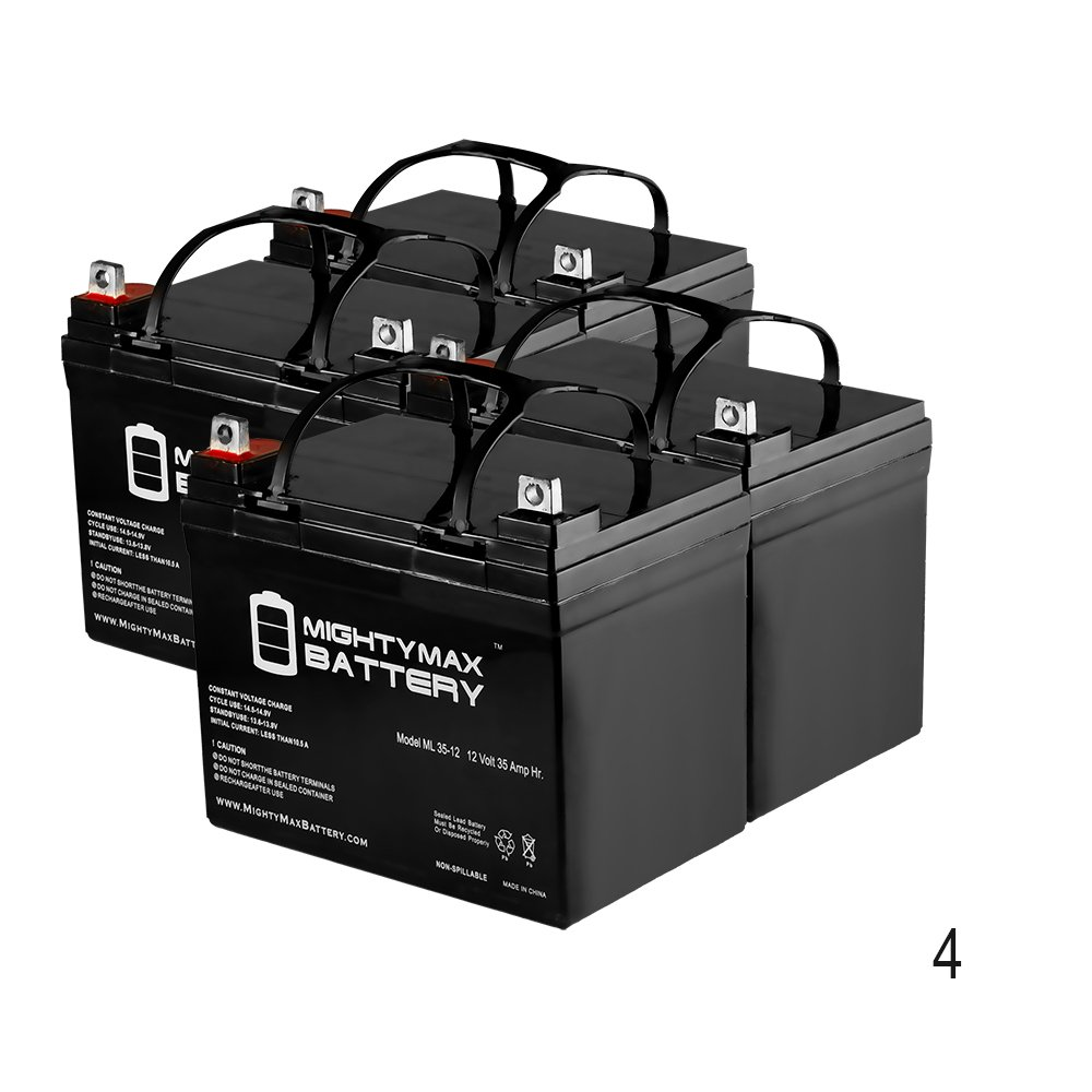 ML35-12 - 12V 35AH DC DEEP CYCLE SLA SOLAR ENERGY STORAGE BATTERY - 4 Pack - Mighty Max Battery brand product