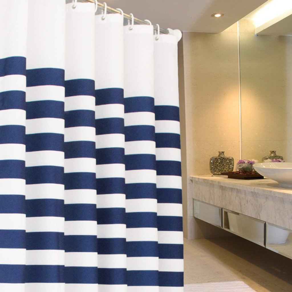 Curtain Blue&White Cross Stripe Fabric Bathroom Shower Curtain - Waterproof and Mildewproof Polyester Fabric Shower Equipment (Size : 180180cm)