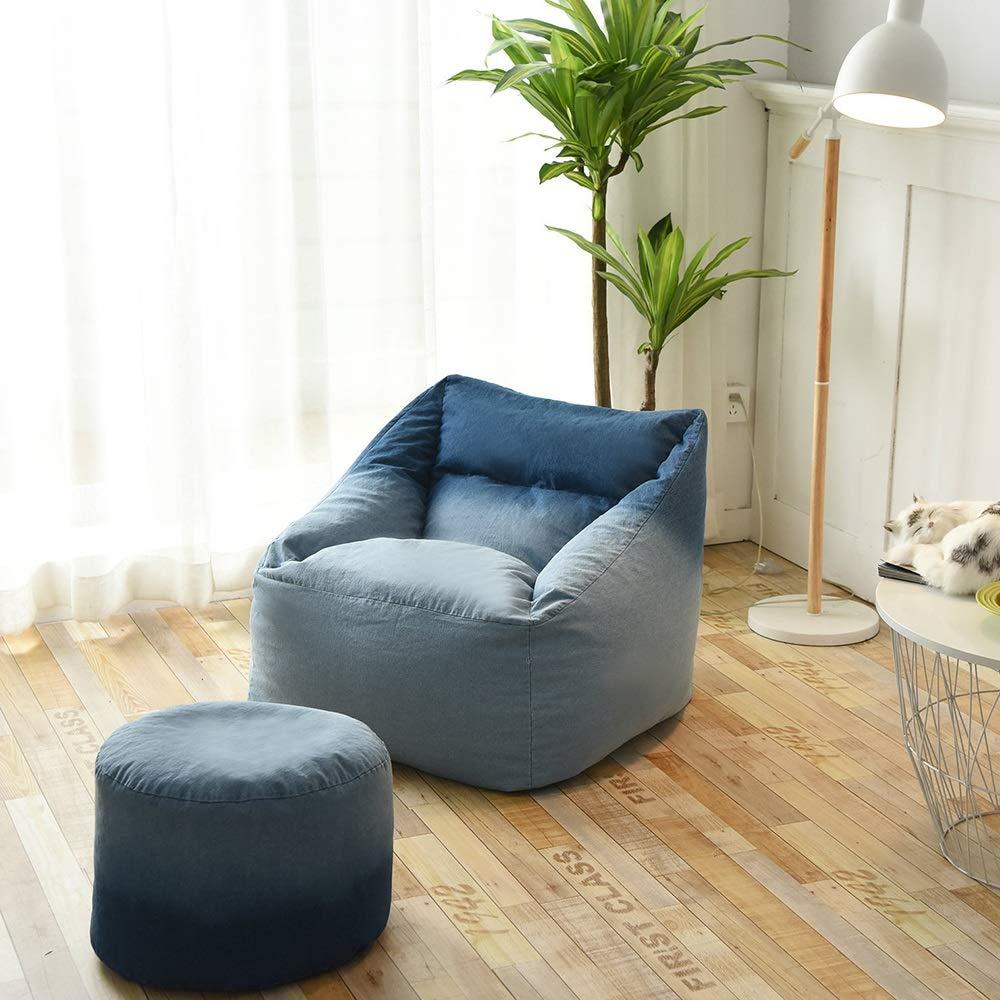 Q-Y-J 北欧の怠惰なソファシンプルな床の豆のバッグの椅子の寝室のリビングルームのバルコニーシングルソファカジュアルな布のソファの青 (サイズ さいず : Sofa+footstool) Sofa+footstool  B07RPY7PLM
