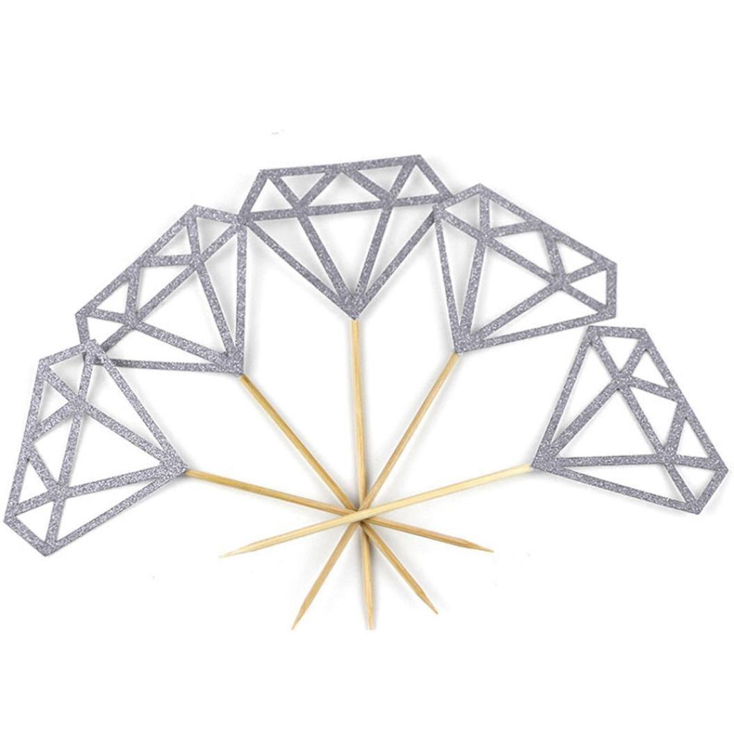 Jeeke Cake Cupcake Toppers Picks Glitter Diamond for Cupcake Bridal Shower (Silver, 10 Pcs)