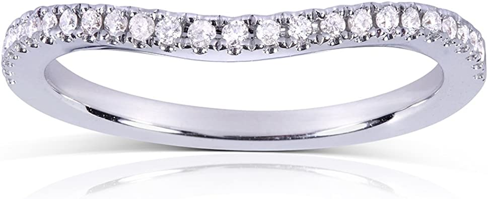 Notched Diamond Wedding Band 1//8 Carats in 14k White Gold ctw