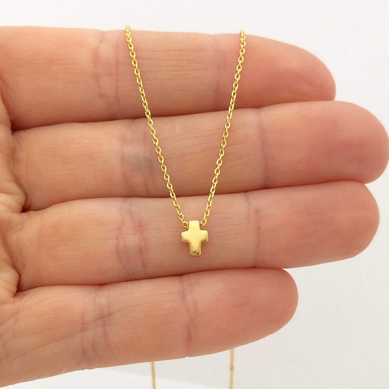 gold plated sterling silver cross necklace adjustable length