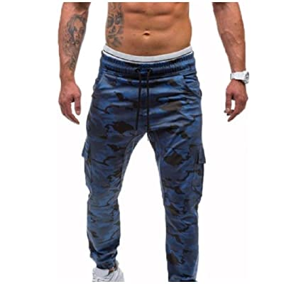 AngelSpace Mens Basic Style Trend Hiphop Camo Print Sport Casual Pants