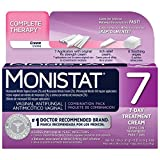 Monistat 7 Complete Therapy Combination Pack, 7 Day Treatment for Feminine Yeast Infections, Contains: 7 RX Strength Cream, Itch Relief Cream and 6 Soothing Wipes,#1 Doctor Recommended Brand,Pack of 4